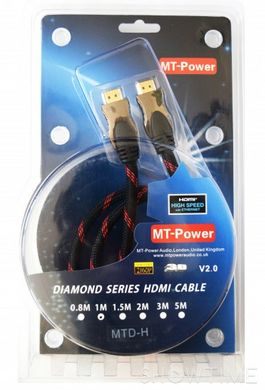 HDMI кабель MT-Power Diamond HDMI-HDMI 0.8m, v2.0 3D, UltraHD 4K